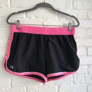 Under Armour Heat Gear Black & Pink Shorts Medium